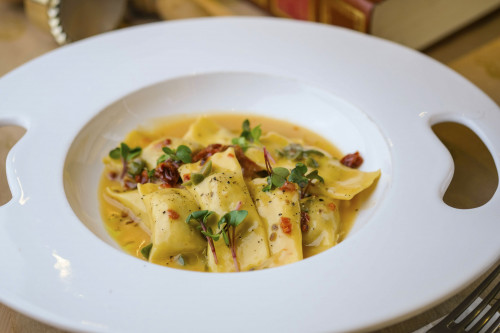 Agnolotti with Ligurian pet rabbit